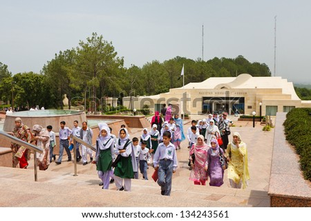 ISLAMABAD - JULY 16: Schoolchildren visit the Pakistan Monument on July 16, 2011 in Islamabad. The monument represents Pakistan's progress as a developing country, its provinces and its territories.