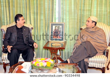 ISLAMABAD, PAKISTAN - DEC 07: Prime Minister, Syed Yousuf Raza Gilani in meeting with Peoples Party (PPP) Chairman, Bilawal Bhutto Zardari during meeting at PM House on December 07, 2011in Islamabad.