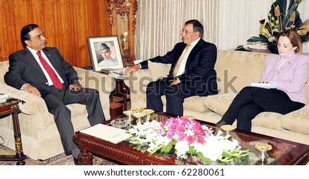 ISLAMABAD, PAKISTAN, SEPT 30: President, Asif Ali Zardari talks with US Central  Intelligence Agency (CIA) Dir, Leon E.Panetta during meeting on September 30, 2010 in Islamabad, Pakistan