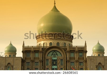 Islamic architecture landscape in sunset