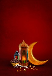 Islamic Concept Red Color background Ramadan and eid al fitr 2020 Special Image dates with Turkish traditional lantern Light Lamp and Tasbeeh, Iftar theme image, Ramadan Kareem Mubarak background