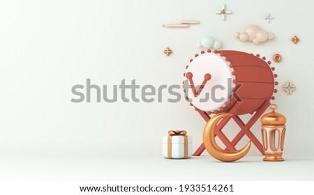 Islamic decoration background with bedug drum, lantern and crescent, gift box, ramadan kareem, mawlid, iftar, isra  miraj, eid al fitr adha, muharram, copy space text area, 3D illustration.