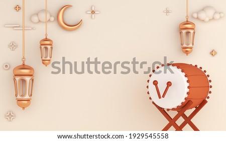 Islamic decoration background with bedug drum, lantern and crescent, ramadan kareem, mawlid, iftar, isra  miraj, eid al fitr adha, muharram, copy space text area, 3D illustration.