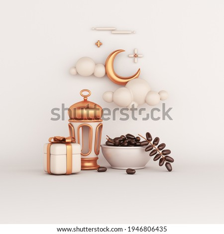 Islamic decoration background with date fruit, lantern, crescent, gift box cartoon style, ramadan kareem, mawlid, iftar, isra  miraj, eid al fitr adha, muharram, copy space text, 3D illustration.