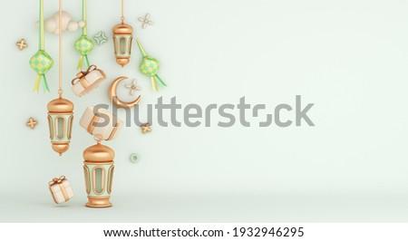 Islamic decoration background with ketupat, lantern crescent gift box cartoon style, ramadan kareem, eid al fitr, copy space text area, 3D illustration.