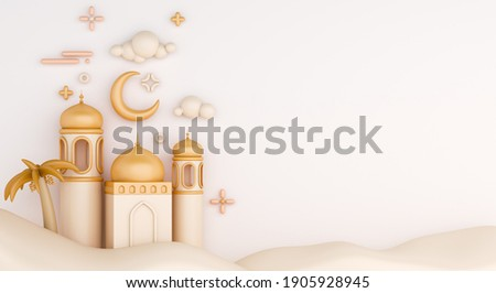 Islamic decoration background with mosque, lantern crescent dune cartoon style, ramadan kareem, mawlid, iftar, isra  miraj, eid al fitr adha, muharram, copy space text area, 3D illustration.