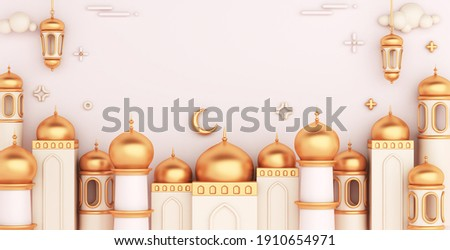 Islamic decoration background with mosque lantern on white, cartoon style, ramadan kareem, mawlid, iftar, isra  miraj, eid al fitr adha, muharram, wide composition, copy space text, 3D illustration.