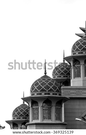 Islamic design of mosque with domes.  #369325139