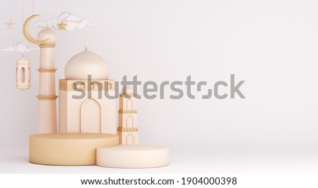 Islamic display podium decoration background on white with mosque, lantern, crescent, ramadan kareem, mawlid, iftar, isra  miraj, eid al fitr adha, muharram, copy space text area, 3D illustration.