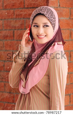 islamic girl was use cellphone