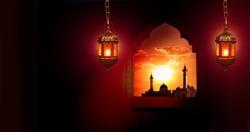 Islamic Greeting Cards for Muslim Holidays. Ramadan Kareem background.Eid Mubarak, greeting background with lantern.Mosque window