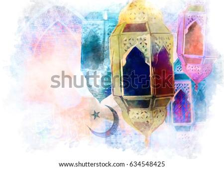 Islamic muslim holiday Ramadan Eid background with eid lanterns or lamps and arabic oriental windows