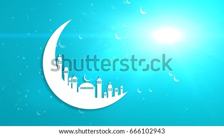 Islamic ramadan in white moon shape,dust particle background.Light ray effect.