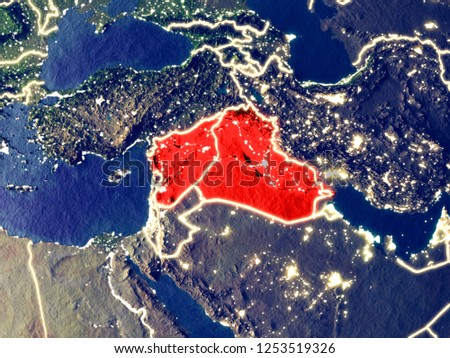 Islamic State from space on Earth at night. Very fine detail of the plastic planet surface with bright city lights. 3D illustration. Elements of this image furnished by NASA.