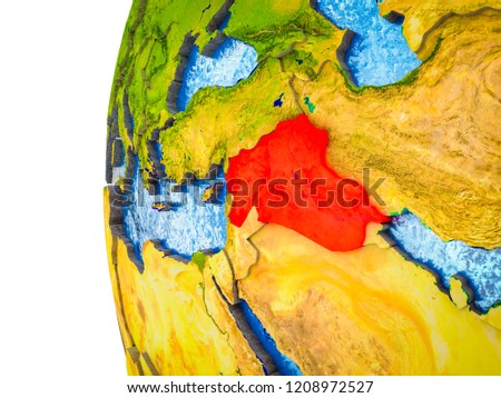 Islamic State highlighted on 3D Earth with visible countries and watery oceans. 3D illustration.