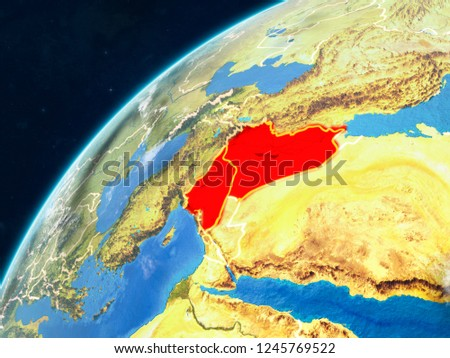 Islamic State on realistic model of planet Earth with country borders and very detailed planet surface and clouds. 3D illustration. Elements of this image furnished by NASA.