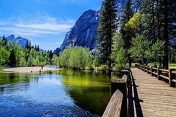 island beach as seen from the Swinging Bridge. Yosemite National park