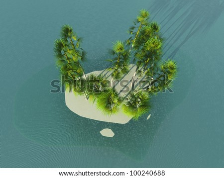 Island in heart form