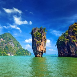 Island in Thailand Phuket. James Bond island geology rock formation
