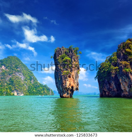 Island in Thailand Phuket. James Bond island geology rock formation  #125833673