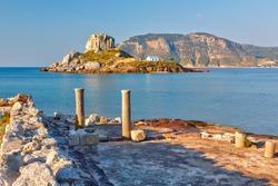 Island Kastri and ruins on Kos, Greece