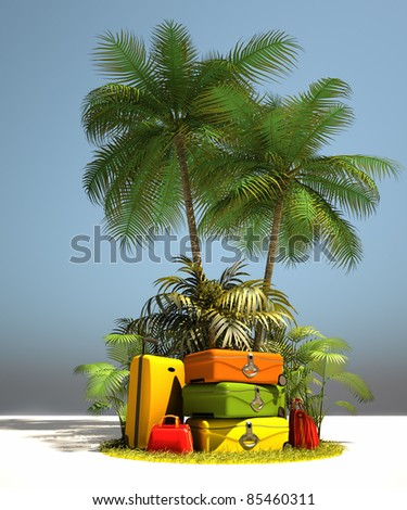 Island like composition showing tropical vegetation and beautiful colorful luggage