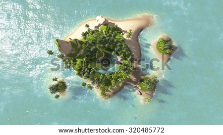 island of beautiful sea top view render illustrations