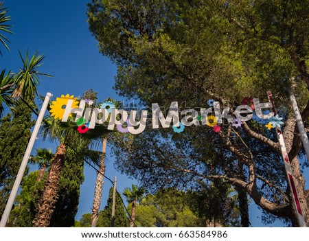Island of Ibiza, Spain, June 14, 2017. Hippy market of the city of Es Canars. Typical Ibiza market, which is held every Wednesday of each week. Foto stock ©