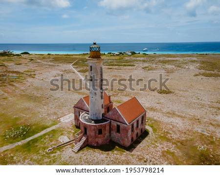Island of Klein Curacao in the Caribbean near the Island Curacao with the red lighthouse, small island Curacao Stockfoto ©
