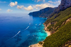 Island of Sardinia, Mediterranean rugged coast, Italy. Mediterranean island of Sardinia (Sardegna), Italy. Cliffs at the eastern shore, Sardinia, Italy.
