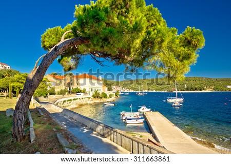 Island of Vis seafront walkway view, Dalmatia, Croatia