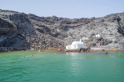 Island Palea Kameni and hot mineral springs, Santorini, Greece