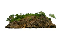 Island, rock, hill, mountain on white background isolated with clipping path.