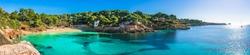 Island scenery, seascape Majorca Spain, beautiful panorama of Mediterranean Sea coastline in Cala Ratjada, beach of Cala Gat.