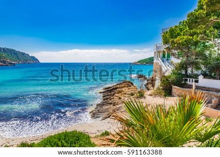 Island scenery, seascape Majorca Spain, idyllic coast bay of Sant Elm, Balearic Islands, Mediterranean Sea. #591163388