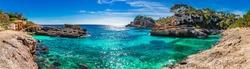 Island scenery, seascape panorama Majorca Spain, beautiful coast bay of Cala S'Almunia, Mediterranean Sea, Balearic Islands.