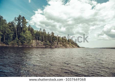 Island shore on Lake Ladoga #1037669368