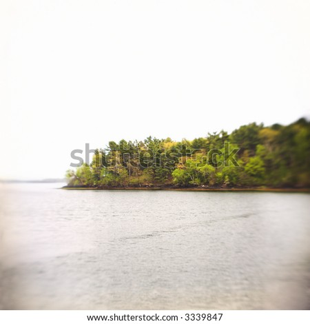 Island, view from the water, soft selective focus