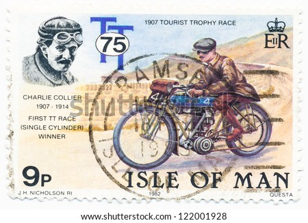 ISLE OF MAN - CIRCA 1982: A stamp printed in Isle of Man shows Charlie Collier, Tourist trophy Race, circa 1982
