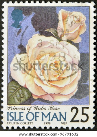 ISLE OF MAN - CIRCA 1998: A stamp printed in Isle of Man shows princess of wales rose, circa 1998