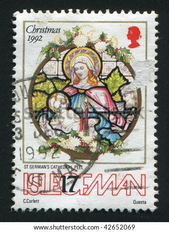 ISLE OF MAN - CIRCA 1992: Christmas. Nativity window, St. German\'s Cathedral, Peel, circa 1992.