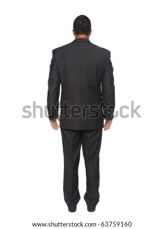 Isloated full length studio shot of an African American man looking away from the camera.