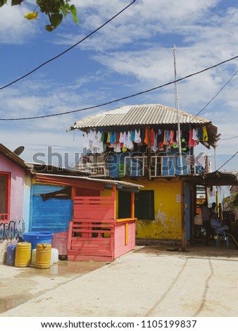 islote de santa cruz colorful caribbean houses on island colombia 1105199837