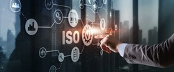 ISO certification concept standard quality control. International information security standard
