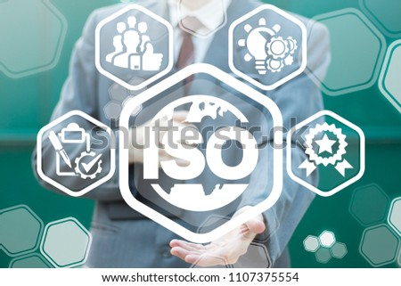 ISO Quality Standards Certified Management Organizations concept. Global Certification System. Businessman offers a earth globe icon with word iso surrounded by specific icons.