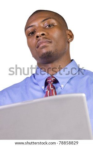 Isoalted Young black Businessman working on laptop while standing up