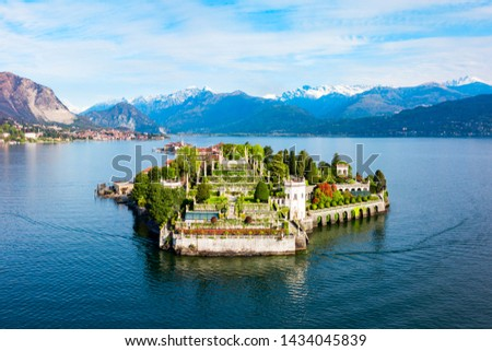 Isola Bella and Stresa town aerial panoramic view. Isola Bella is one of the Borromean Islands of Lago Maggiore in north Italy.