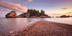 Isola Bella Taormina, Beautiful island in Sicily at sunset