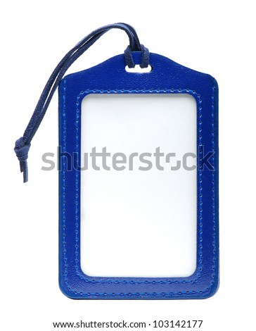 Isolate Blue Leather Name Tag