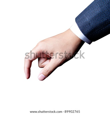 isolate businessman hand choosing in white background